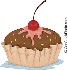 Cupcake - Illustration of a Cupcake with Cherry on Top
