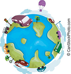 Globe Cars - Illustration of a Globe Surrounded by Cars
