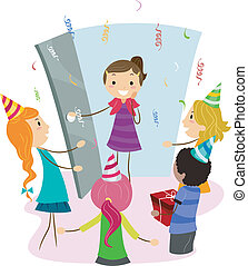Surprise Party - Illustration of a Girl Coming Home to a...