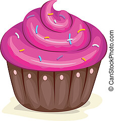 Cupcake - Illustration of a Cupcake with Sprinkles on Top