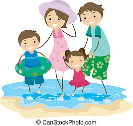 Family Outing - Illustration of a Family Playing on the...
