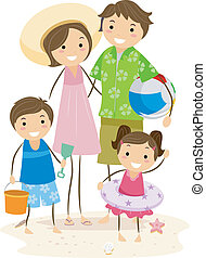Family Outing - Illustration of a Family Outing at the Beach