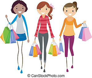 Girls Shopping - Illustration of Girls Shopping Together