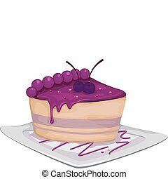 Blueberry Cake - Illustration of a Slice of Blueberry Cake