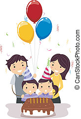 Double Celebration - Illustration of Twins Celebrating Their...