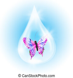 Butterfly in a drop of water as a symbol in need of...
