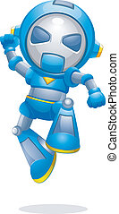 Robot - Illustration of a Toy Robot Jumping with Glee