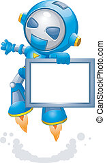 Robot - Illustration of a Toy Robot Carrying a Frame