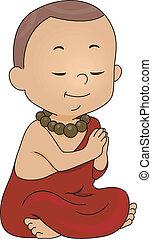 Monk Praying - Illustration of a Little Monk Praying