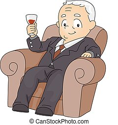 Businessman Toast - Illustration of a Businessman with His...