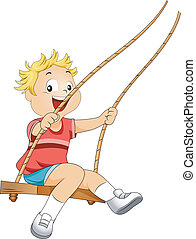 Kid on a Swing - Illustration of a Kid on a Swing