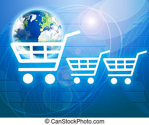 Shopping basket with earth