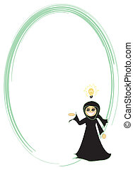woman with an idea frame - Muslim woman with an idea frame