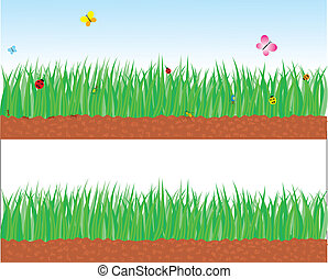 Vector green grass landscape with insects