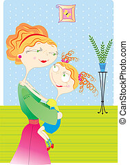 Mother and daughter in roomVector image