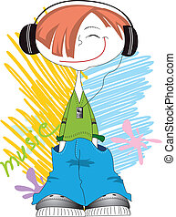 Vector cool boy smiling and listening music with player