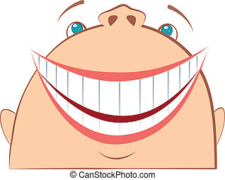Laughing face. Cartoon symbol of fun.Vector man