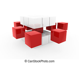 3d cube red white square business concept puzzle