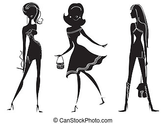 Woman in fashion clothes for design on whiteVector models