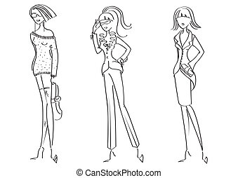 Woman in fashion clothes for design on white.Vector models