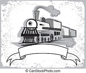Vector illustration of old steam engine.Locomotive with...