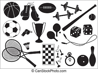 Sports equipments Vector black icons on white
