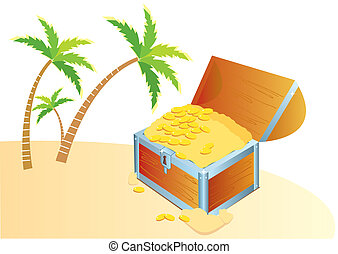 Pirate's treasure chest on a tropical beach with palms