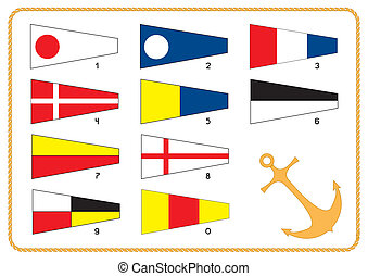 Vector nautical flags on white