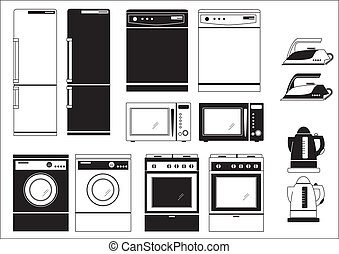 Domestic appliances. Vector black silhouettes of icons