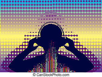 Vector silhouette of man with headphone