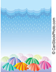 Editable vector illustration of colorful umbrellas in rain