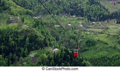Timelapse of cableway in Georgians Mountains
