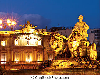 La Cibeles Fountain By Night, Madrid - The fountain of...