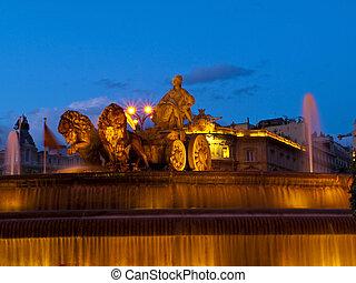 La Cibeles Fountain By Night, Madrid