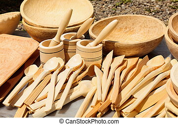 Traditional carved wood dishware - Traditional Romanian...