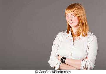business woman - smiling caucasian business woman is looking...