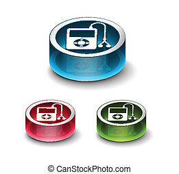 3d glossy musical player icon, includes 3 color versions