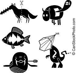 crazy animals - Collection of cartoon funny vector animals...