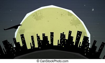 Cityscape at Night Loop HD - Dynamic graphic animation using...
