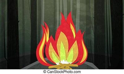 Camp Fire Night Loop HD - Dynamic graphic animation using...