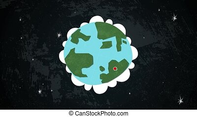 Earth in Space with Locations Loop - Dynamic graphic...