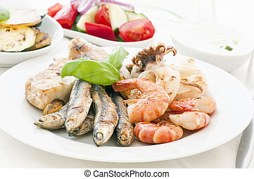 Seafood Platter with Vegetable and Tzatziki