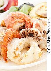 Seafood with Tzatziki
