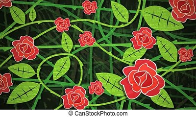 Red Rose Bush Loop HD - Dynamic graphic animation using...