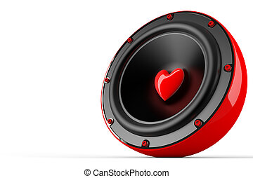 awesome love speaker - 3d render of love speaker concept