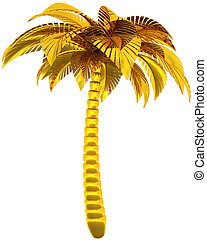 Golden palm tree luxury tropical - Golden palm tree single...
