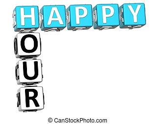 crossword,  3D, hora, Feliz