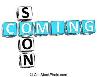 3D Cooming Soon Crossword on white background