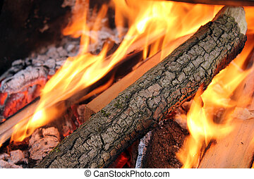 Flaming Logs On Fire