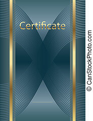 empty certificate blue/gold  - diploma background